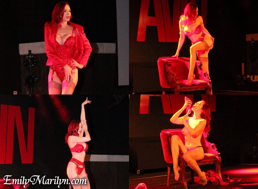 emily marilyn leg tease burlesque act avn fetish event las vegas