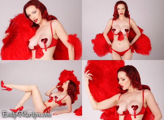 emily marilyn red hot burlesque fan dance