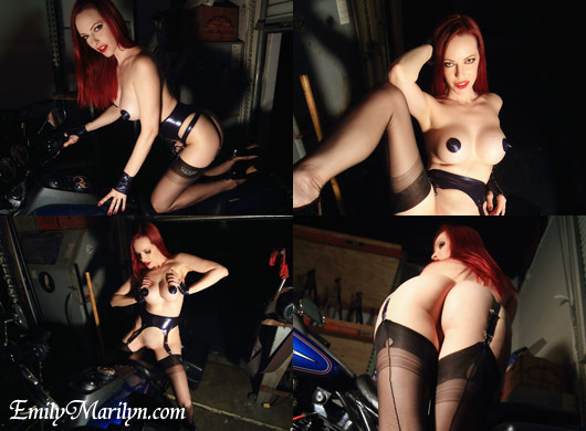 emily marilyn behind the scenes with Chopper Dave photoshoot