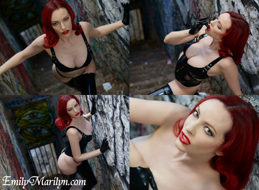 Emily Marilyn old la zoo stairwell cathouse clothing latex