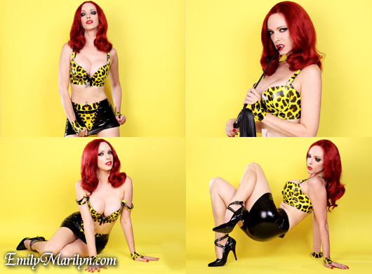 Emily Marilyn yellow latex fetish