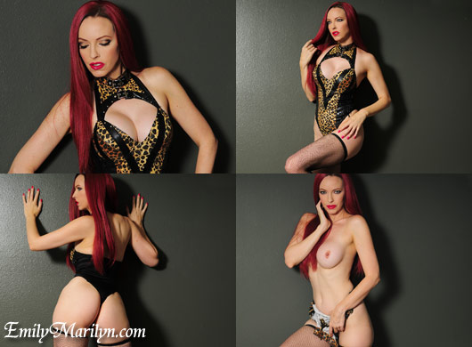 Emily Marilyn vinyl lingerie bondage cheetah print sexy fetish with fishnet stockings thigh highs