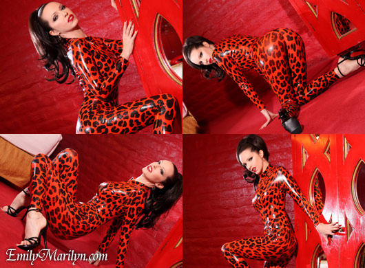 Emily Marilyn leo print cheetah latex catsuit