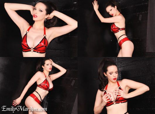 Emily Marilyn strap latex bikini