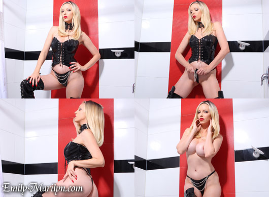 Emily Marilyn bitch boots pvc vinyl chains