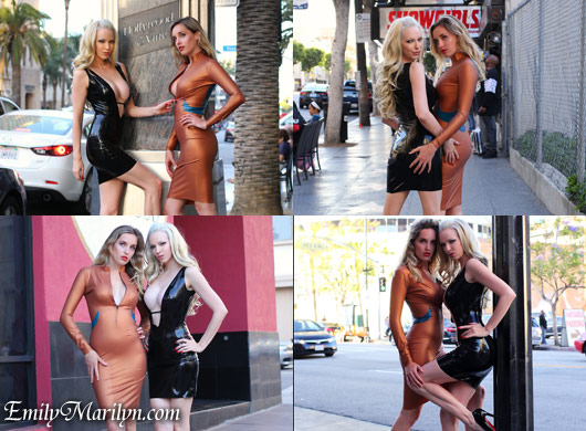 Emily Marilyn and Katie Miller in latex