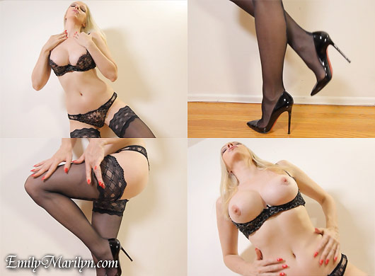 Emily Marilyn stocking lingerie tease and denial