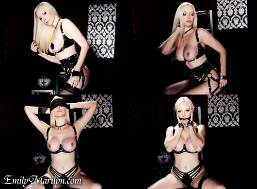 Emily Marilyn Mercury latex lingerie and seamed stockings