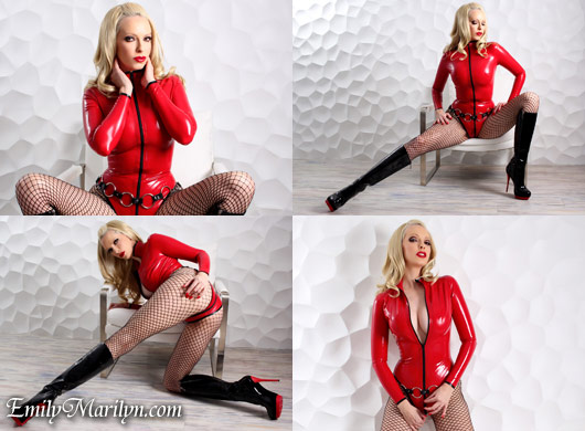 Emily Marilyn red body latex dominatrix