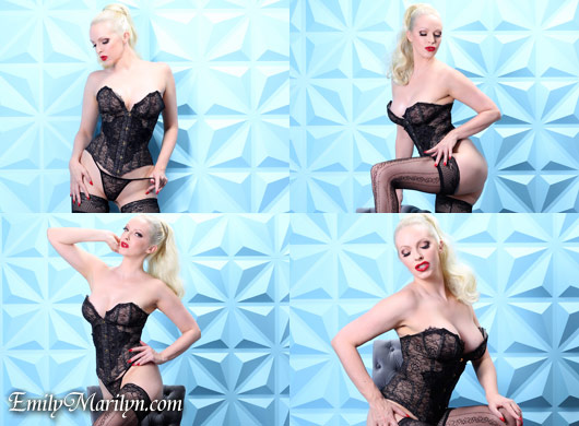 Emily Marilyn dreamy in lace corset and stockings