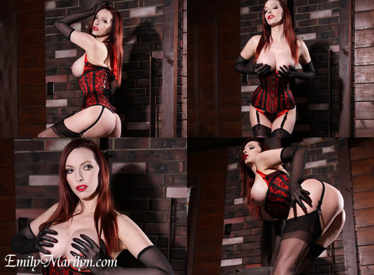 Nice and tight corset stockings high heels fetish redhead Emily Marilyn with gloves